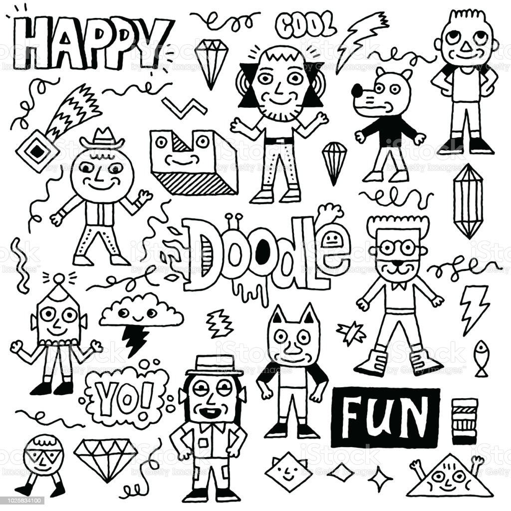 Abstract Fantastic Happy Doodle Characters Set. Black And White Drawing. Vector Illustration.