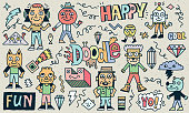 Abstract Fantastic Happy Doodle Characters Set. Color Drawing. Vector Illustration. Texture Background.