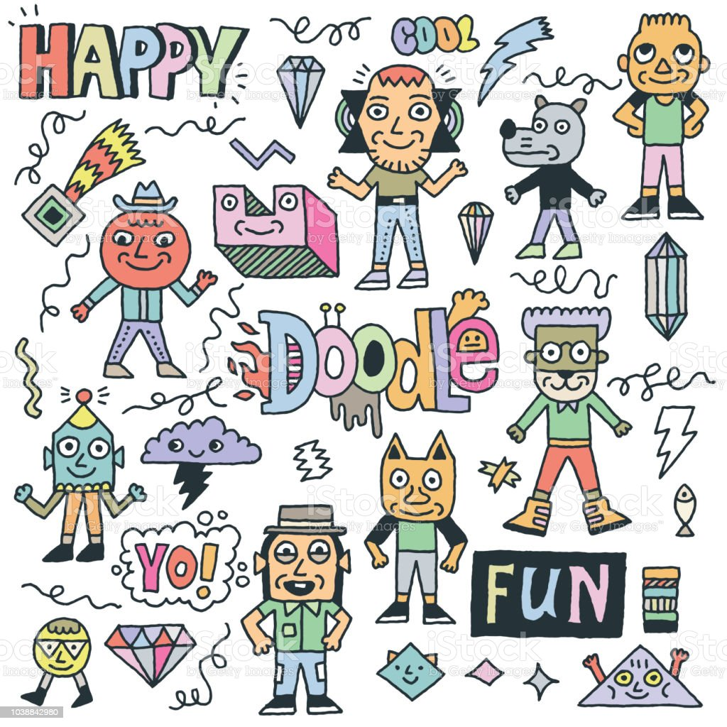 Abstract Fantastic Happy Doodle Characters Set. Color Drawing. Vector Illustration.