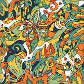 Abstract fantasy drawing colorful art vector background.