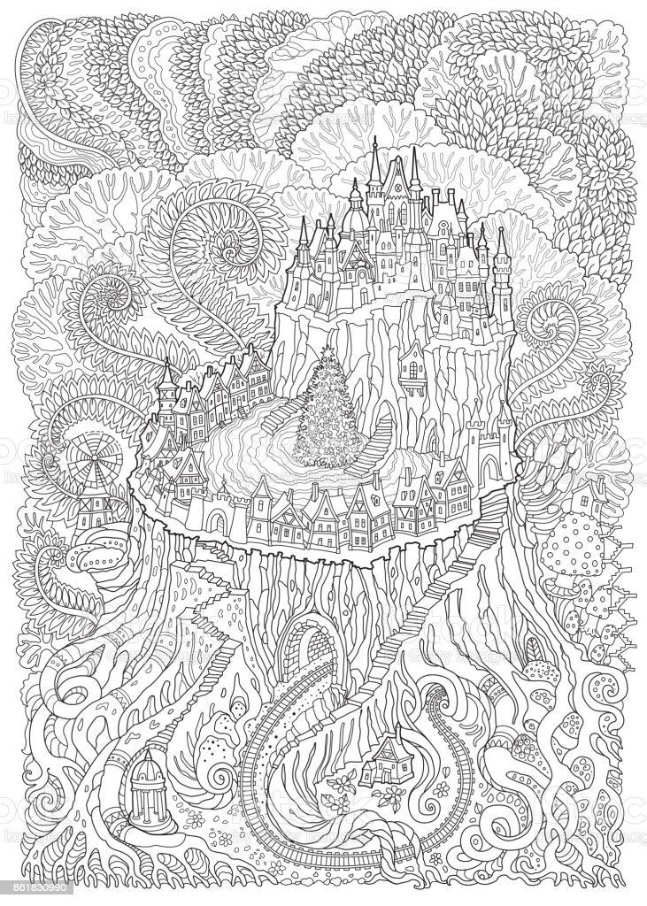 Ilustración de Paisaje De Fantasía Abstracta Castillo Medieval De ...