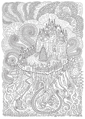 Abstract fantasy landscape. Fairy tale medieval castle with Christmas tree on fantastic tree stump. Stylized fern foliage, mushrooms.T-shirt print. Adults and children coloring book page. Black, white