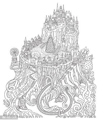 istock Vector paisaje de fantasía de humor blanco y negro contorno ...