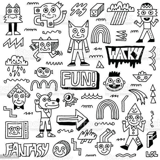 Abstract fantasy wacky funny doodle cartoon characters set 2 black vector id1017798788?b=1&k=6&m=1017798788&s=612x612&h=ilvio9plrdsbchsr4c3 3elkmxm4ejhc7mwmw0471v0=