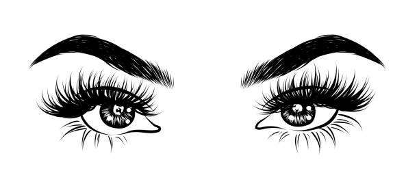 抽象時尚例證眼睛與創造性的構成。手繪向量想法的商務訪問卡, 範本, 網頁, 沙龍橫幅, 摺頁冊。自然眉毛和閃閃發光的睫毛 - 睫毛 幅插畫檔、美工圖案、卡通及圖標