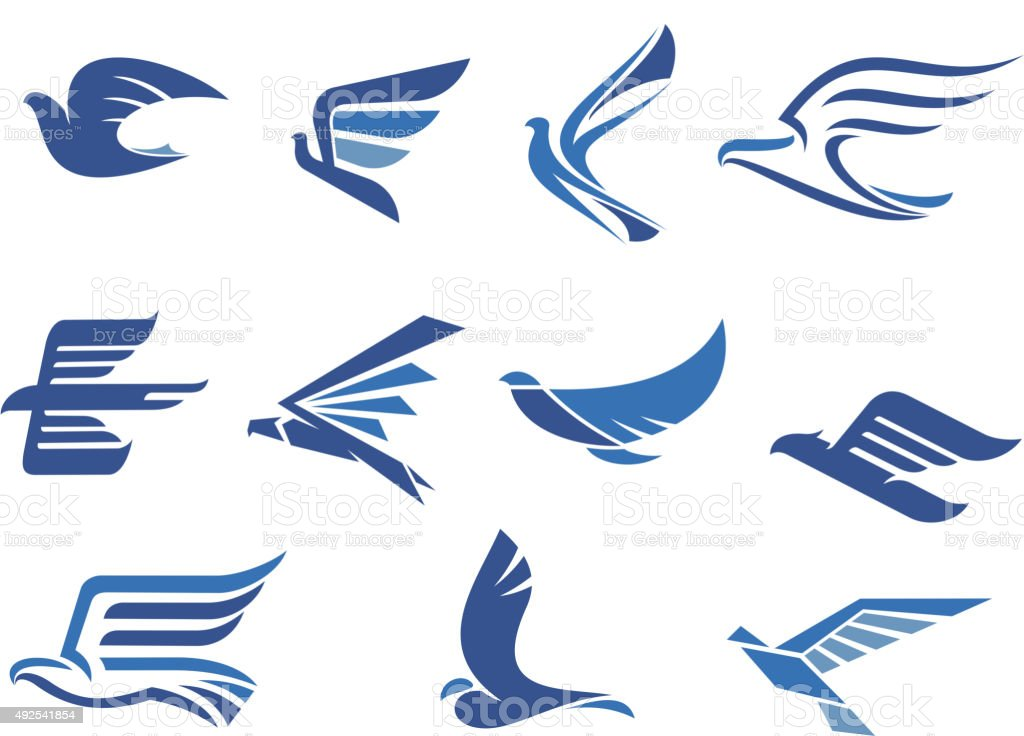Abstract fast flying blue birds vector art illustration
