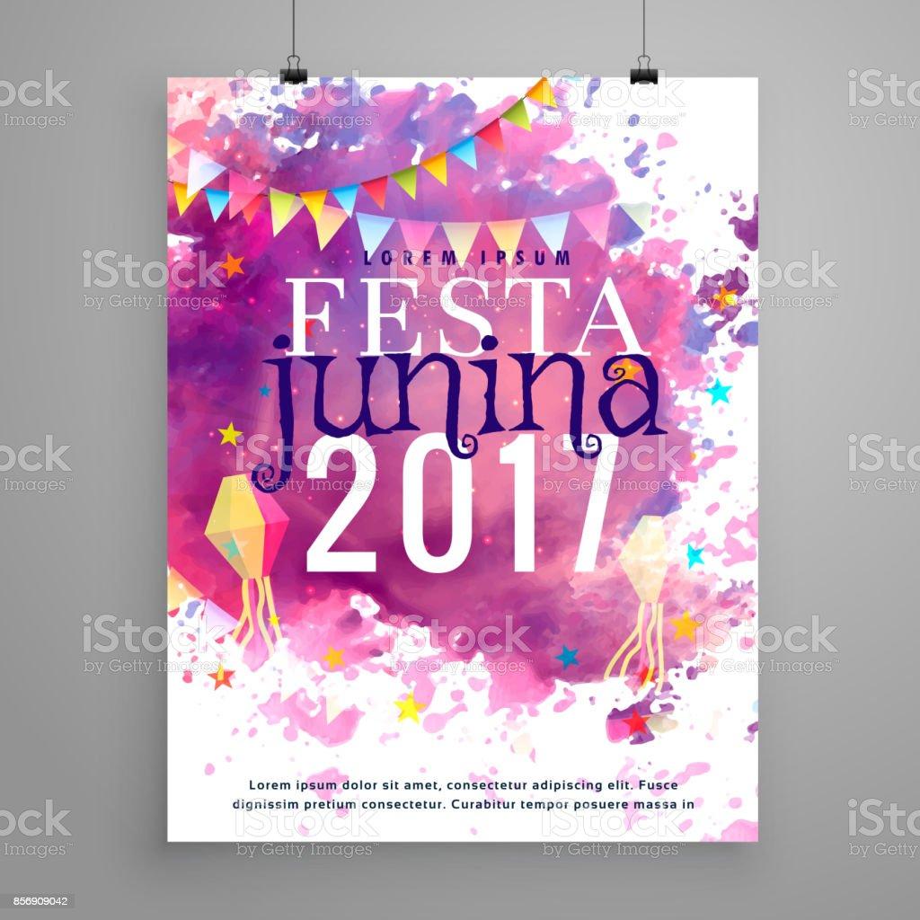 abstract festa junina 2017 invitation with watercolor effect vector art illustration