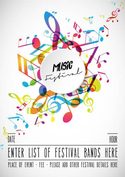 abstract festival invitation background template with tunes. - muzyka poważna stock illustrations