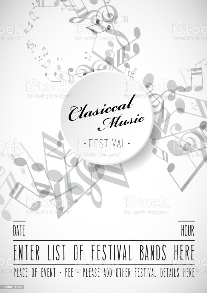 Abstract Festival Invitation Background Template With Tunes Stock