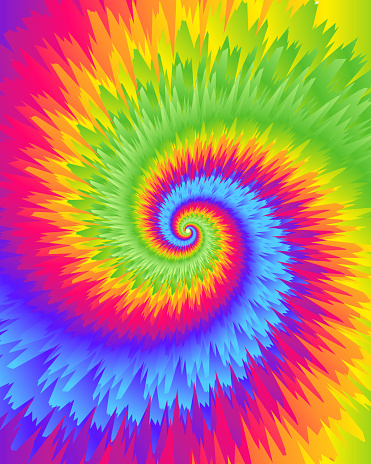 Abstract festive colorful background, Bright rainbow Tie Dye pattern, vector illustration. Crazy boho spiral swirl paint.
