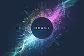 Abstract fiction vector illustration quantum computer technology. Sphere explosion background. Deep learning artificial intelligence. Big data visualization algorithms. Waves flow. Quantum explosion
