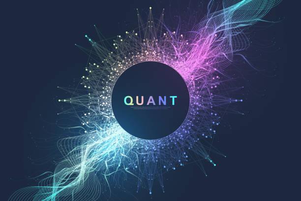 Abstrakte Fiktion Vektor Illustration Quantencomputer-Technologie. Kugel-Explosion Hintergrund. Deep Learning künstliche Intelligenz. Big-Data-Visualisierungsalgorithmen. Wellen fließen. Quantenexplosion. – Vektorgrafik