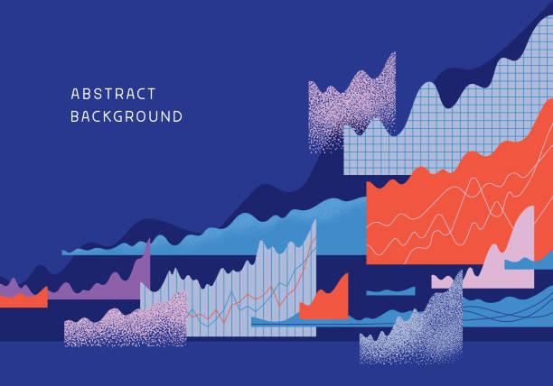 abstrakter finanzierungshintergrund - geschäftsstrategie stock-grafiken, -clipart, -cartoons und -symbole
