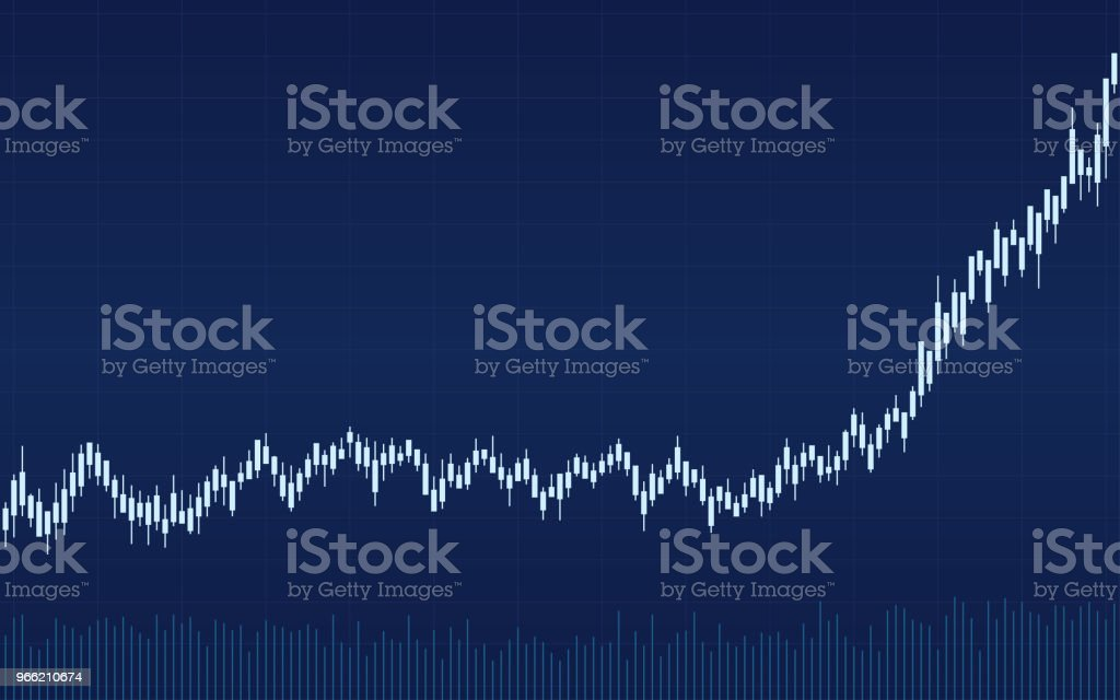 Abstract Financial Candlestick Chart With Uptrend Line Graph On Blue