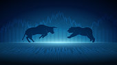 Abstract financial chart with bulls and bear in stock market on blue colour background