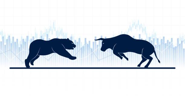stockillustraties, clipart, cartoons en iconen met abstracte financiële grafiek met stieren en bear in stock market op witte kleur achtergrond - bullmarkt