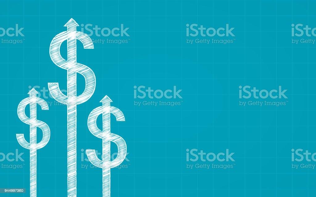 Abstrait Tableau financier avec signe du dollar et de la flèche dans la craie design dessin à main levée sur fond de couleur bleue - Illustration vectorielle