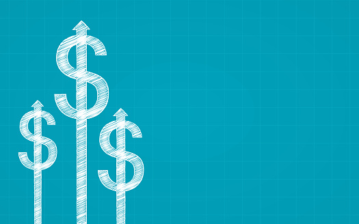 Abstract Financial Chart With Dollar Sign And Arrow In Chalk Scribble Design On Blue Color Background Stock Illustration - Download Image Now