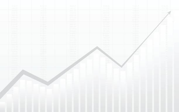 abstrait Tableau financier avec la ligne graphique et numéros en bourse sur fond de dégradé de couleur blanc - Illustration vectorielle