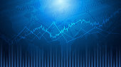 Abstract financial chart with line graph and world map in stock market on blue colour background