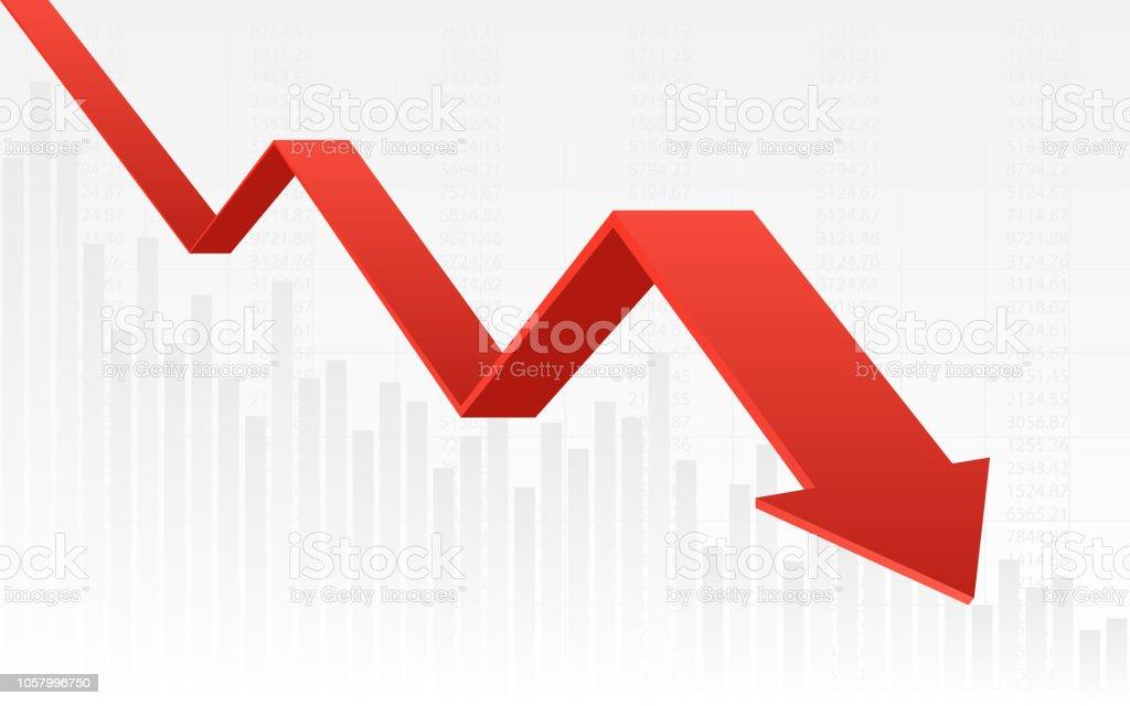 Résumé financier graphique avec 3d graphique couleur rouge tendance baissière et numéros en bourse sur fond de dégradé de couleur blanc - Illustration vectorielle