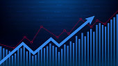 Abstract financial chart with up arrow graph in stock market in blue colour background