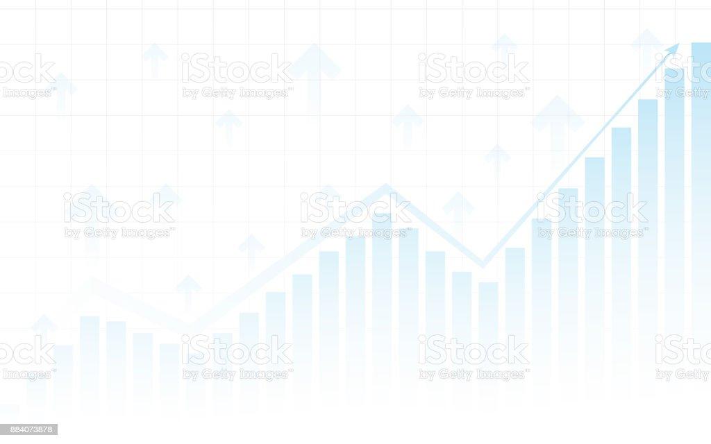 Abstrait Tableau financier avec des courbes de tendance et de la flèche en bourse sur fond de couleur blanche - Illustration vectorielle