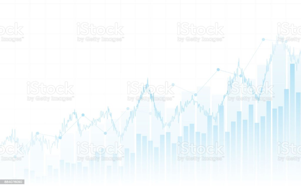 Abstract financial chart with up trend line graph and bar chart in stock market on white color background royalty-free abstract financial chart with up trend line graph and bar chart in stock market on white color background stock illustration - download image now