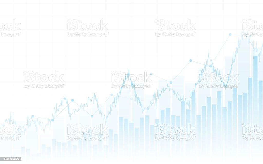 Resumo financeiro gráfico com gráfico de linha de tendência e gráfico de barras no mercado de ações, sobre fundo de cor branca - ilustração de arte em vetor