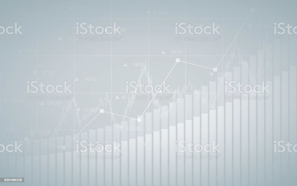 Abstract financial chart with up trend line graph, bar chart and numbers in stock market on gradient gray color background vector art illustration