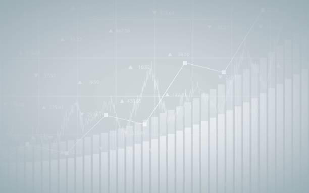 Abstrait Tableau financier avec courbe de tendance, graphique à barres et numéros en bourse sur fond de couleur gris dégradé - Illustration vectorielle