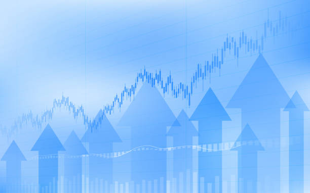 abstract financial chart with uptrend line candlestick graph and arrows in stock market on blue color background - dane giełdowe stock illustrations