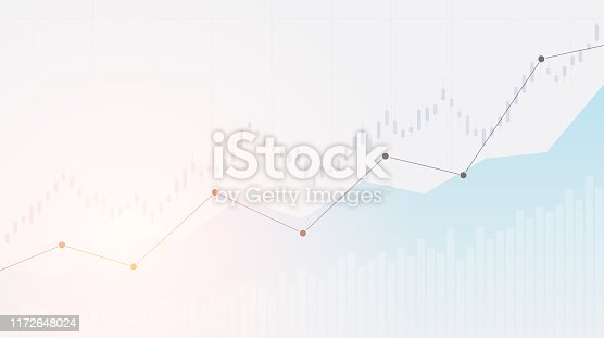 Abstract financial chart with uptrend line graph in stock market on white colour background