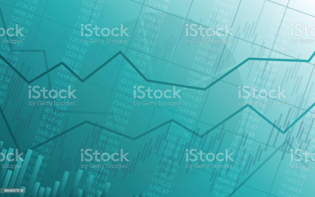 Abstrait Tableau financier avec la ligne de tendance haussière en dégradé de couleur verte - Illustration vectorielle