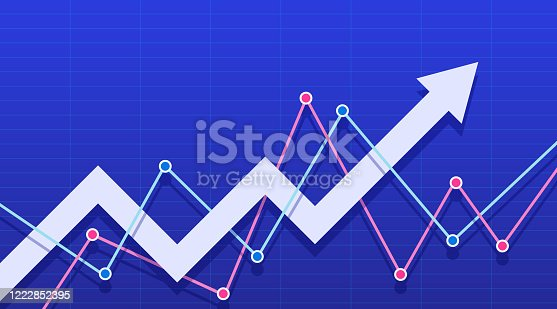 611868428 istock photo Abstract financial chart with white arrow on a blue background. 1222852395