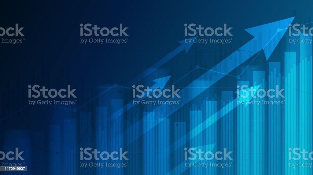 藍色背景股市中上升趨勢線和箭頭的抽象財務圖 - 免版稅光圖庫向量圖形