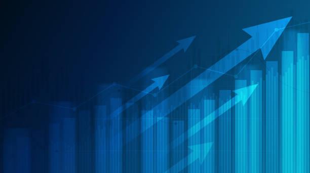 藍色背景股市中上升趨勢線和箭頭的抽象財務圖 - 商務 幅插畫檔、美工圖案、卡通及圖標