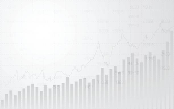 Résumé financier avec la ligne graphique, graphique à barres et numéros de stock en bourse sur fond de couleur gris dégradé - Illustration vectorielle