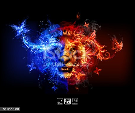 istock Abstract Fire and water lion 531229235