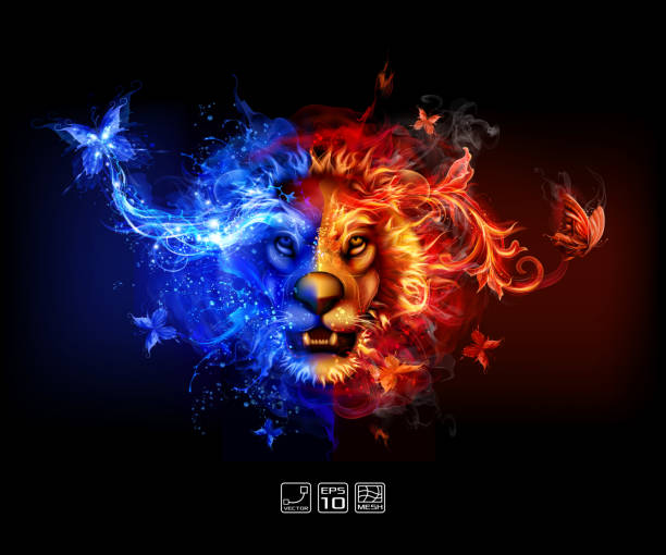 Abstract Fire and water lion vector art illustration