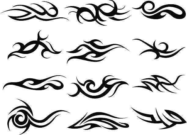 abstract fire design - fire tattoos stock illustrations, clip art, cartoons, & icons