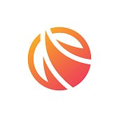 Abstract fire icon flame sign circle icon symbol.