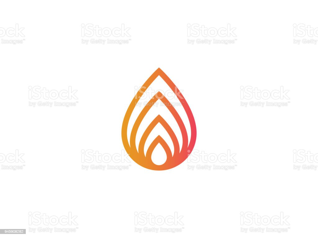Abstract Fire Logo Or Nature Leaf Icon Stock Illustration