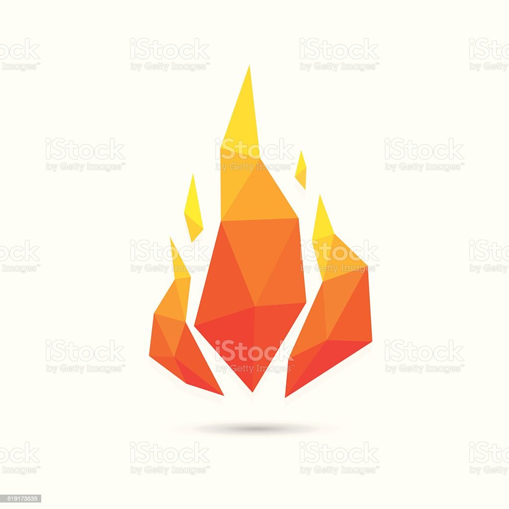 Abstract fire triangle geometric design vector art illustration