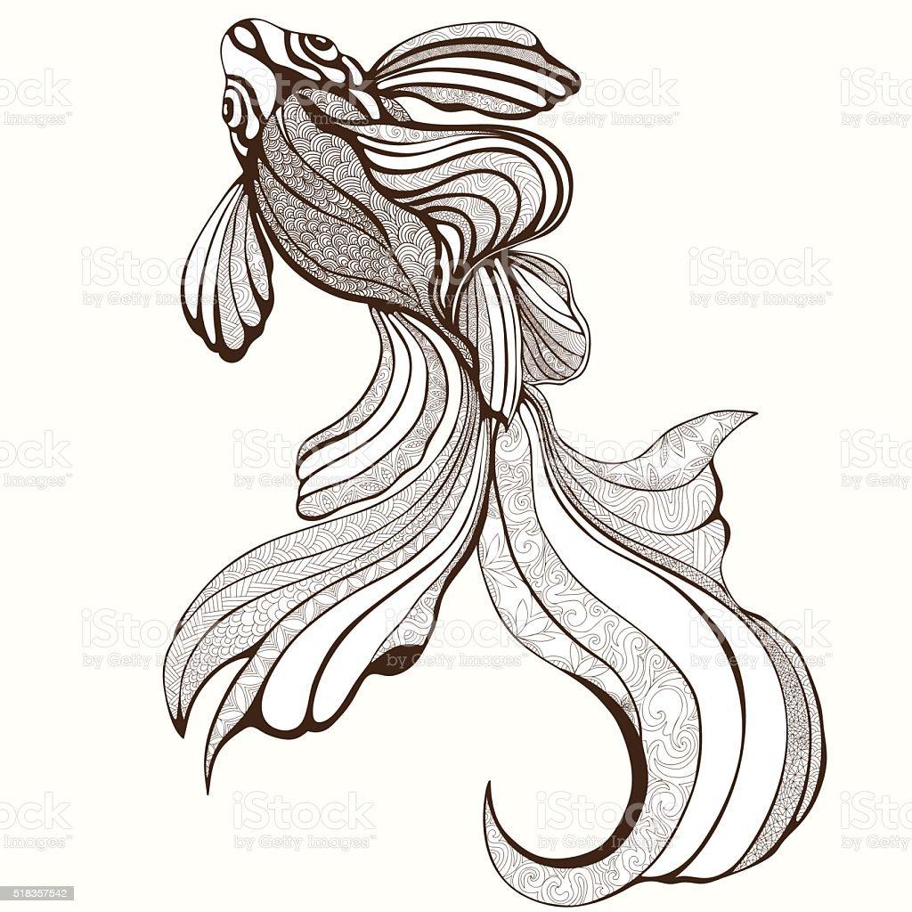 Abstrakte Fische Färben Skizze Hand Zeichnen Grafik Stock Vektor Art ...
