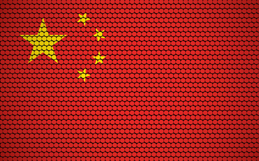 Abstract flag of China made of circles. Chinese flag designed with colored dots giving it a modern and futuristic abstract look.