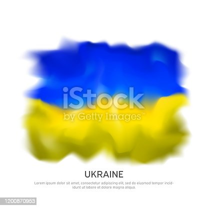 istock Abstract flag of the ukraine for national holiday creative poster design. Ukrainian flag on white background. Banner design. Graphic abstract background. Nation patriotic template, vector 1200870953