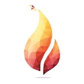 Flame polygonal geometric figure.