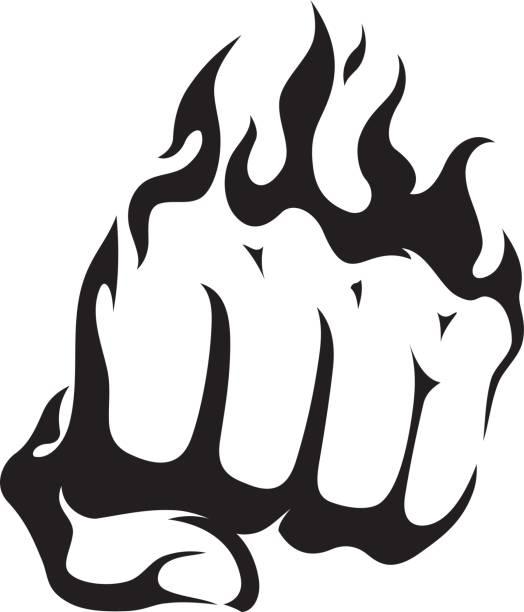 stockillustraties, clipart, cartoons en iconen met abstracte vlammende vuist - punch