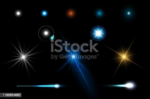 istock Abstract flare light speed lighting effect elements design concept 1185854682